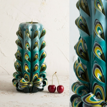 Carved candles - Big peacock tail - Turquoise candle - Decorative carved candle - EveCandles