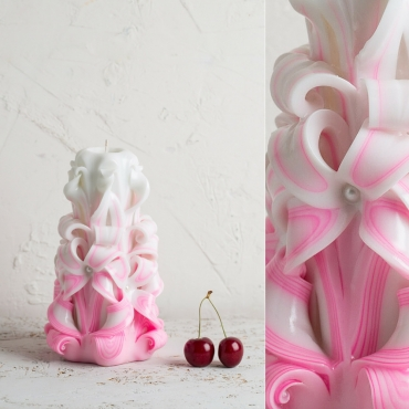 Medium White and Pink candle - Gentle colors - Wedding Decorative carved candle - EveCandles