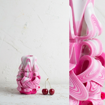 Small Pink and White - Bright colors - Decorative carved candle - EveCandles