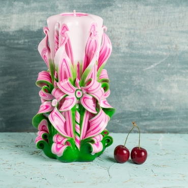 Big Pink Candles with Green and White - Decorative handmade carved candle - EveCandles