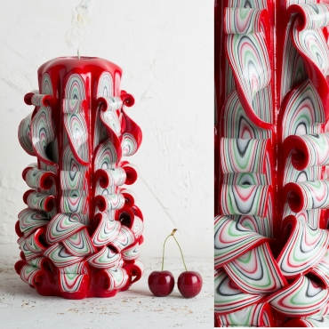 Big Red Candles with White - Passionate colors - Decorative carved candle - EveCandles