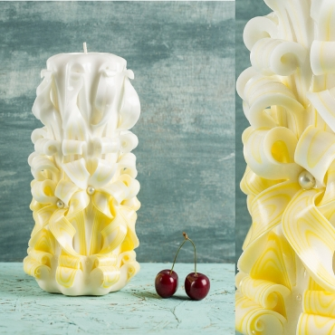 Unity candle - White and Yellow candle - Wedding decoration - Carved candle - EveCandles