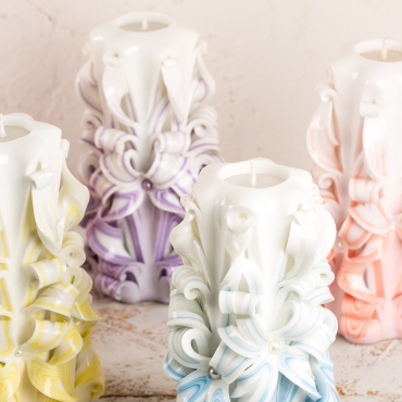 Big White and Purple candles - Carved candles - Decorative candles - Unity candles - EveCandles