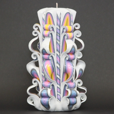 Big White Rainbow, Braids candle, Carved candles, Decorative candles, Gift ideas, OOAK