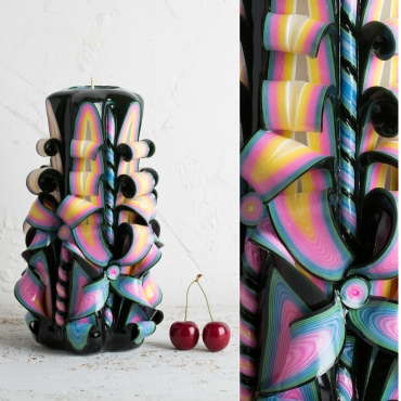 Big Black Rainbow candle, Candel, Carved candles, Christmas gifts, Black candles, EveCandles