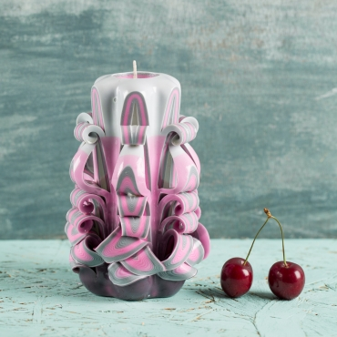 Small Pink candle with Gray - Gentle colors - Decorative carved candle - EveCandles