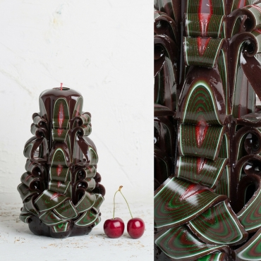 Medium Brown with Green, Red and White stripes - Religious candles - EveCandles