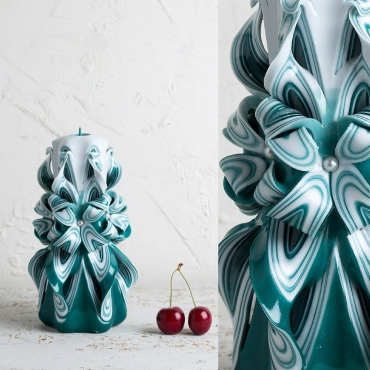 Candle wall decor - Turquoise and White candle - Interior design - Decorative candles - EveCandles