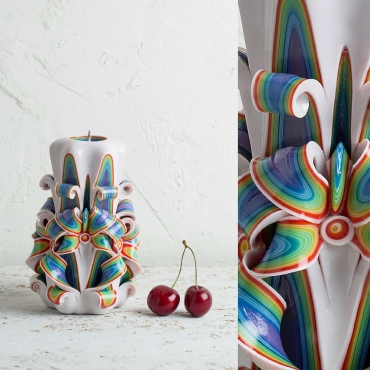 Boho - Handmade Carved candle - Unique candle - Hand crafted candle - Rainbow candles