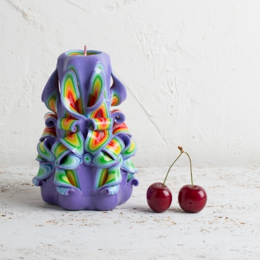 Christmas presents, Carved candle, Purple decoration - handmade EveCandles