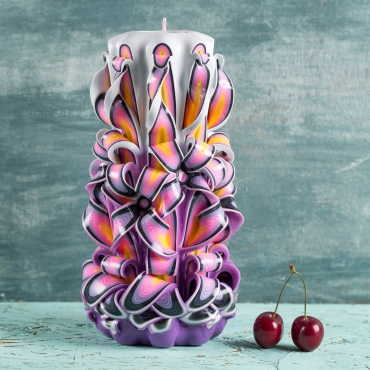 Luxury Colonial Carved Decorative Purple Candle for mother - Gifts for women - handmade EveCandles