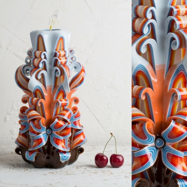 Large Decorative Carved candle, Anniversary decoration, Unusual Christmas gifts, Housewarming Unusual gifts