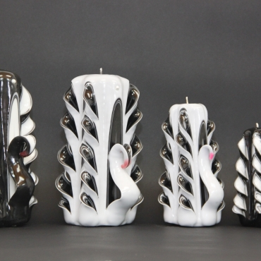 Swan family candles set - Unusual gift - Special gift - Carved candles - Wedding decoration - Unity candles
