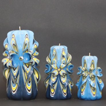 Set of Blue with Flowers shape