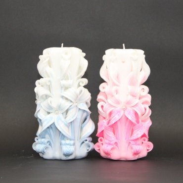 Wedding favors - Candles set - Wedding decorative candles - Blue and Pink gentle colors - EveCandles